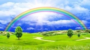 Freedom Rainbow Blue Sky and Glade