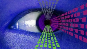 Binary Data Flowing from Human Eye