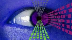 Binary Data Flowing from Human Eye